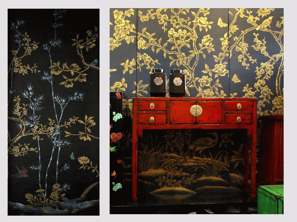 Handpainted Chinese Wallpaper Chinoiserie Wallpaper