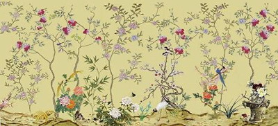 Hand Painted Wallpaper Chinoiserie Chinese Funiture Antique