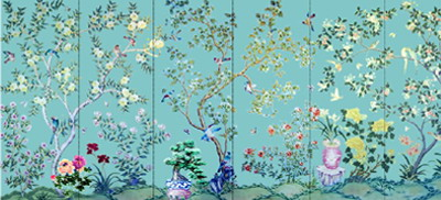 hand painted wallpaper, chinoiserie wallpaper