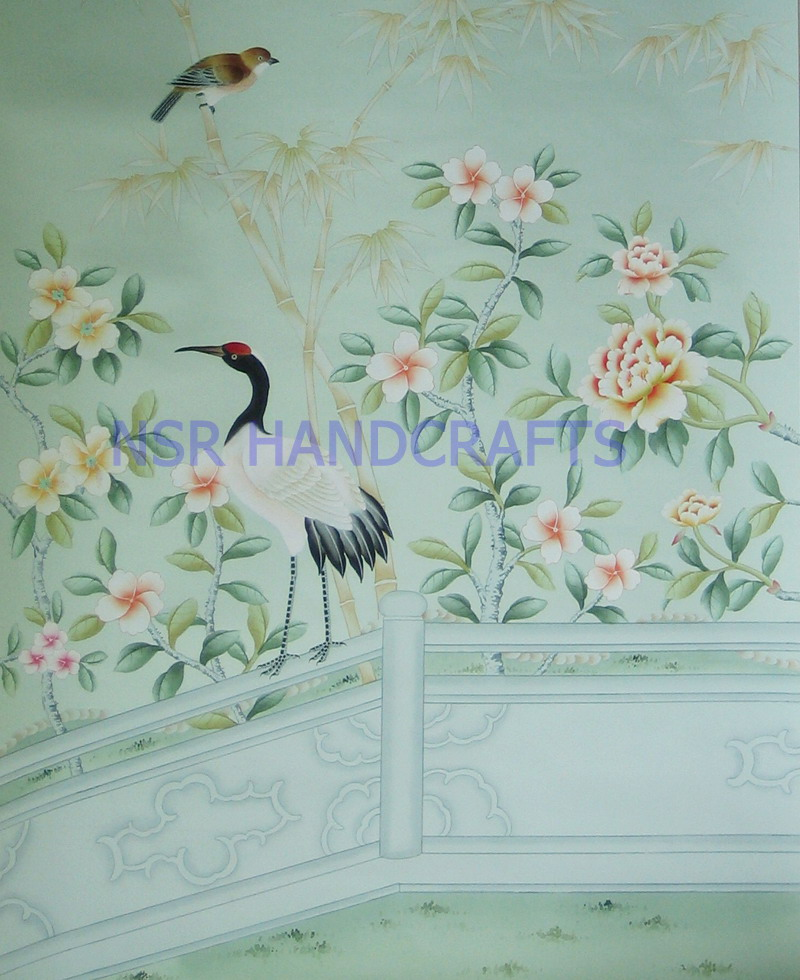 Silk wallpaper hand painted wallpaper chinoiserie wallpaper chinese wallpaper