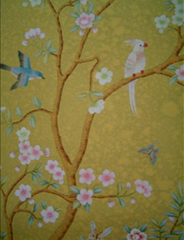 Hand painted wallpaper chinoiserie wallpaper chinese for Oriental style wallpaper uk