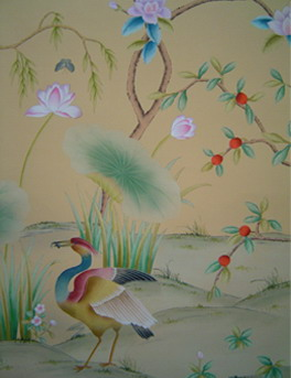 silk wallpaper, hand painted wallpaper, chinoiserie wallpaper, chinese wallpaper
